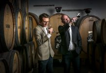 Cape Town's top wine merchants, Roland Peens and James Pietersen sampling some of the locally produced wines