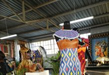 Couture dresses displayed Maxhosa Africa studio in Johannesburg