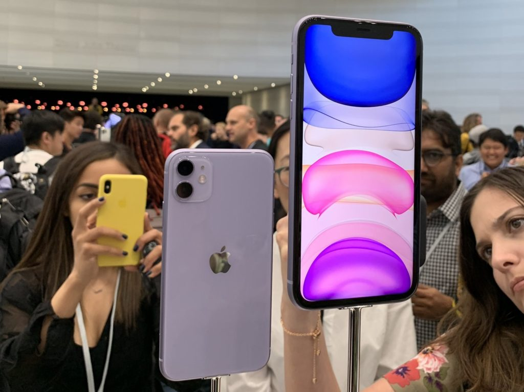 The new iPhone 11 handsets displayed at the Apple Event