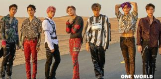 South Korean pop group SuperM standing in the middle of the road for a promotional shoot