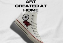 Converse sneaker with unique hand-painted custom design
