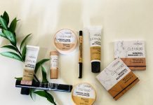 A promotional picture of Catrice Clean ID vegan makeup range with everything from BB cream to mascara and mineral bronzing powder