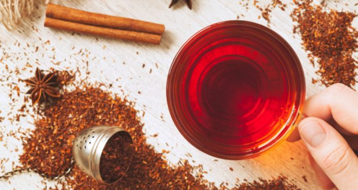 A picture with a cup of rooibos tea